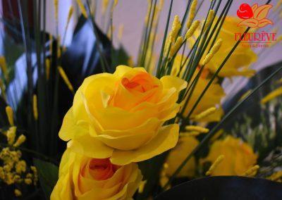 fleureve - 02 bouquets fleurs en tissu et synthetiques